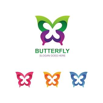 Modelo de logotipo abstrato borboleta