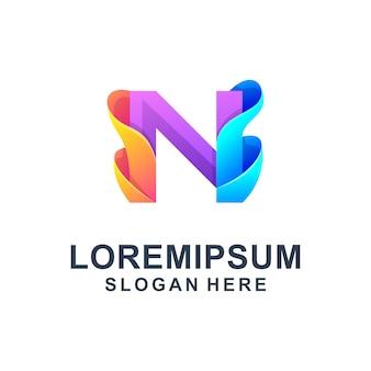 Modelo de logotipo abstrato colorido letra n