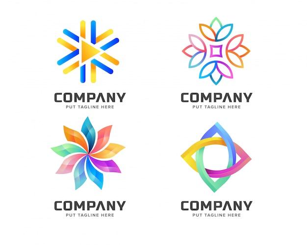 Modelo de logotipo abstrato colorido para negócios