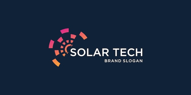 Modelo de logotipo abstrato com conceito de painel solar premium vector