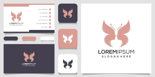 Modelo de logotipo abstrato de borboleta e rosto feminino