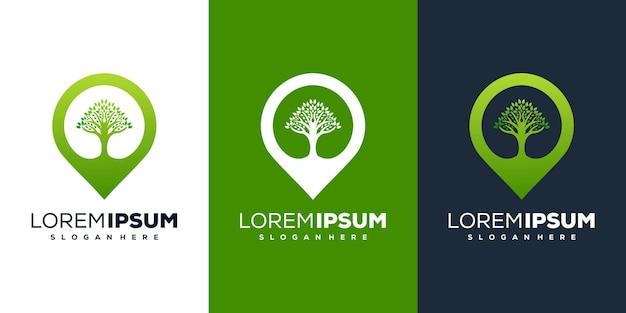 Modelo de logotipo abstrato de localização e árvore