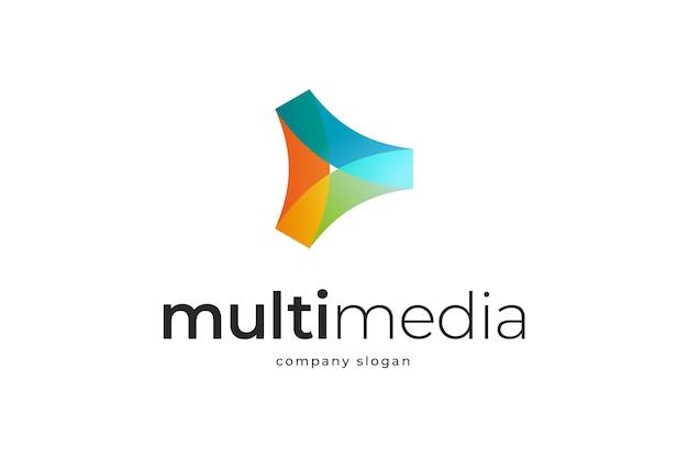 Modelo de logotipo abstrato de mídia colorida