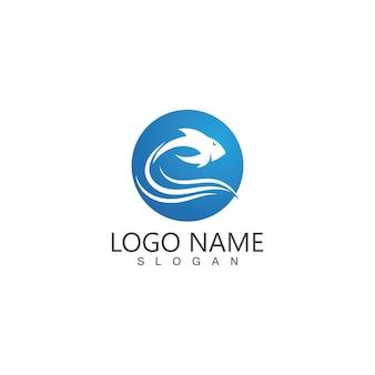 Modelo de logotipo abstrato de peixe