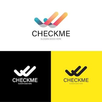 Modelo de logotipo abstrato de verificação dupla