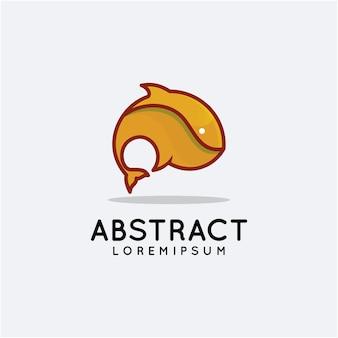 Modelo de logotipo abstrato fish jump