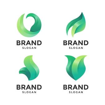 Modelo de logotipo abstrato folha verde