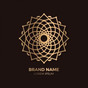 Modelo de logotipo abstrato geométrico flor