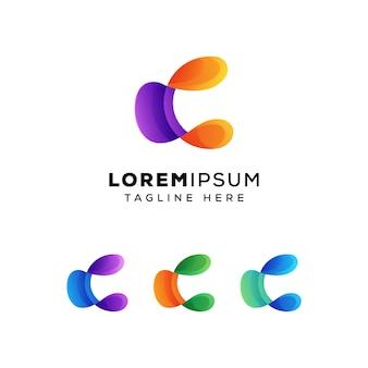 Modelo de logotipo abstrato letra c