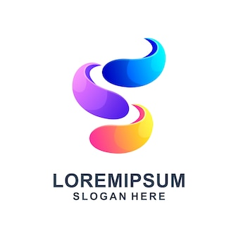 Modelo de logotipo abstrato letra s colorido