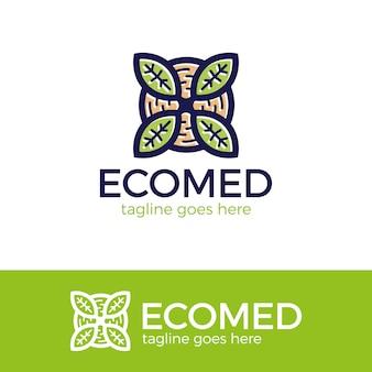 Modelo de logotipo abstrato para medicina alternativa. logotipo do ícone de árvore e folha