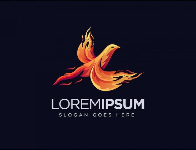 Modelo de logotipo abstrato phoenix chamas