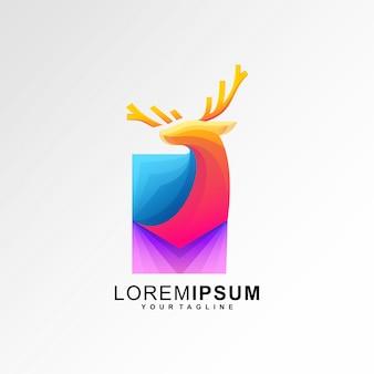 Modelo de logotipo abstrato veado