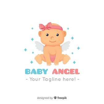 Modelo de logotipo adorável bebê com design plano
