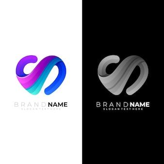 Modelo de logotipo amor cuidado 3d colorido