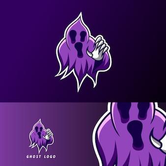 Modelo de logotipo assustador fantasma escuro assustador esporte jogos esport para clube de equipe de esquadrão
