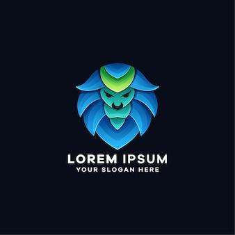 Modelo de logotipo azul gradiente de leão