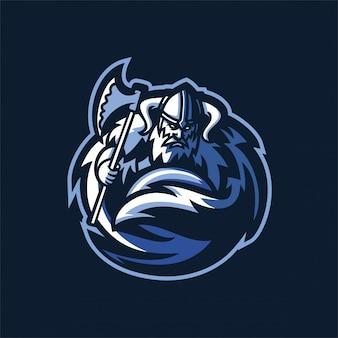 Modelo de logotipo bárbaro cavaleiro cavaleiro esport mascote