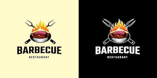 Modelo de logotipo barbecue the grill