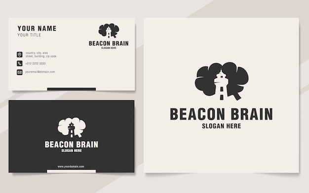 Modelo de logotipo beacon brain em estilo monograma
