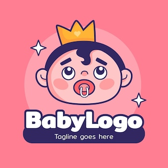 Modelo de logotipo bebê fofo rei