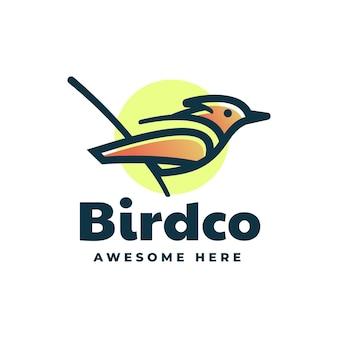 Modelo de logotipo bird gradient line art style