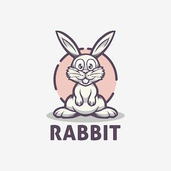 Modelo de logotipo bonito coelho