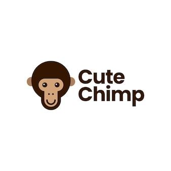 Modelo de logotipo bonito com cabeça de chimpanzé