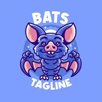 Modelo de logotipo bonito da mascote dos morcegos vampiros