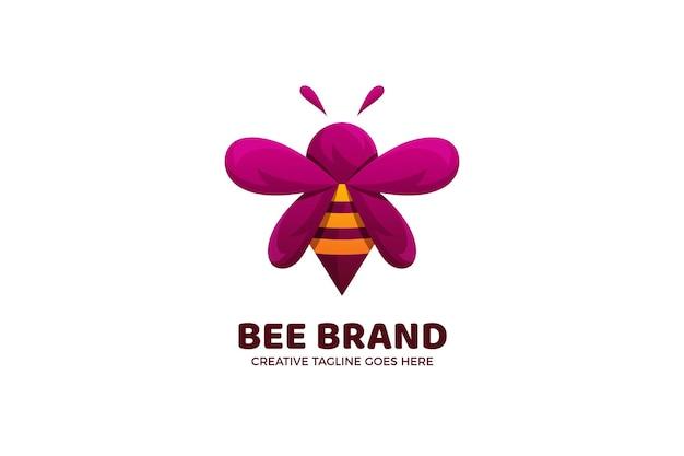 Modelo de logotipo bonito de abelha de desenho animado