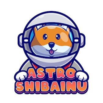 Modelo de logotipo bonito dos desenhos animados de shiba inu do astronauta.