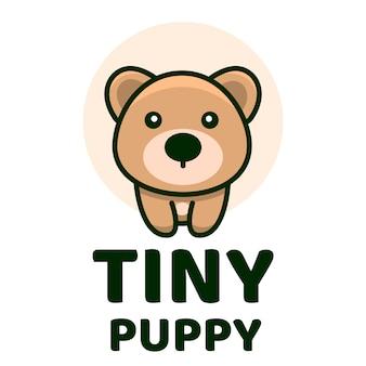 Modelo de logotipo bonito filhote de cachorro minúsculo