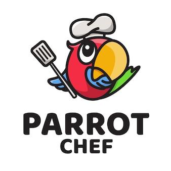 Modelo de logotipo bonito papagaio chef