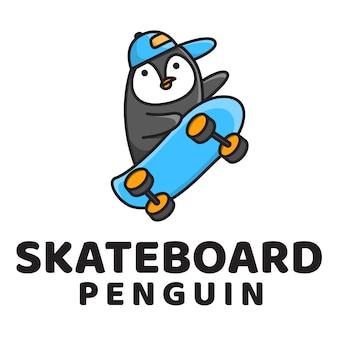 Modelo de logotipo bonito pinguim skate