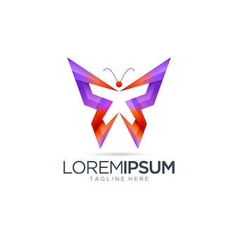 Modelo de logotipo borboleta abstrata
