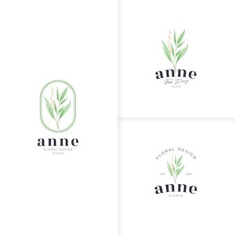 Modelo de logotipo botânico simples desenhado à mão
