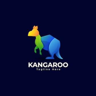 Modelo de logotipo canguru colorido