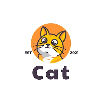 Modelo de logotipo cat mascot cartoon style