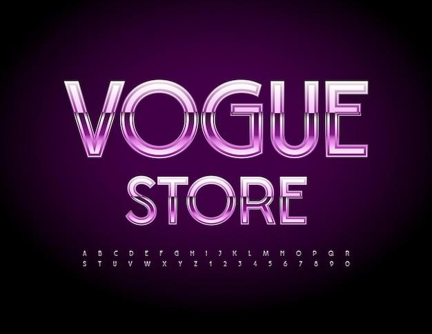 Modelo de logotipo chique de vetor vogue store conjunto de letras e números do alfabeto violeta elegante fonte brilhante