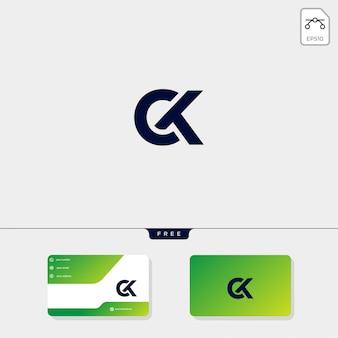 Modelo de logotipo ck inicial e design de cartão de visita