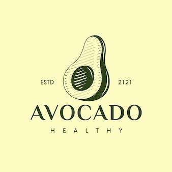 Modelo de logotipo clássico de abacate isolado em amarelo