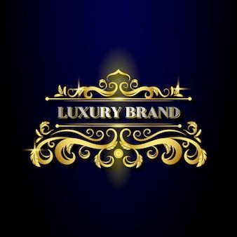 Modelo de logotipo clássico de design dourado decorativo de luxo