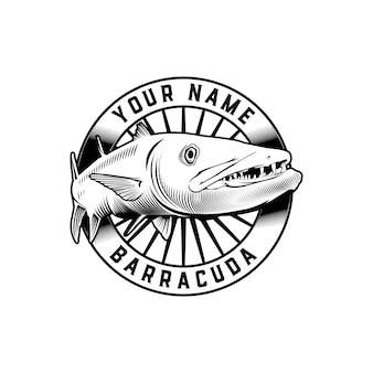 Modelo de logotipo clássico distintivo peixe barracuda