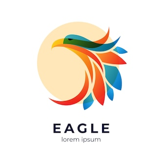 Modelo de logotipo colorido abstrato da águia