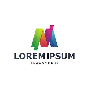 Modelo de logotipo colorido abstrato letra m