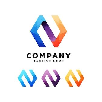 Modelo de logotipo colorido abstrato letra n hexágono