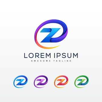 Modelo de logotipo colorido abstrato letra z