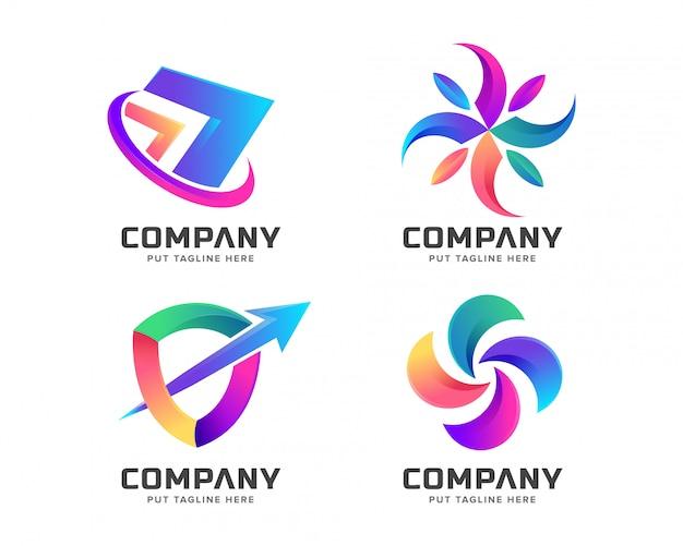 Modelo de logotipo colorido abstrato para negócios