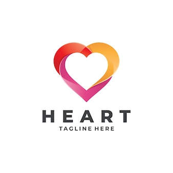 Modelo de logotipo colorido amor coração