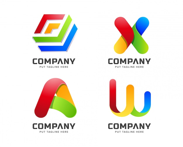 Modelo de logotipo colorido arco-íris negócios gradiente com forma abstrata